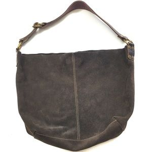 Lucky Brand Brown Suede Slouchy Hobo Bucket Bag